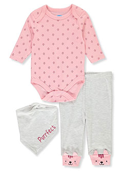 Baby Girls' Purrfect 3-Piece Layette Set by Bon Bebe in Multi