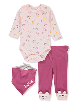 Baby Girls' Love 3-Piece Layette Set by Bon Bebe in Multi