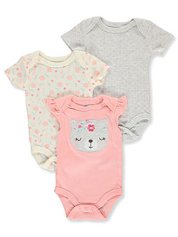 Baby Girls' Bear Floral 3-Pack Bodysuits by Bon Bebe in Multi, Infants