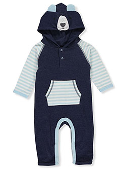 Baby Boys' Bear Hooded Coverall by Bon Bebe in Multi, Infants