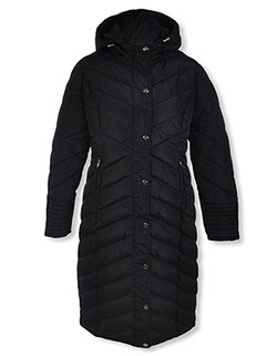 Girls' Angle Baffle Full-Length Parka by Bebe in Black