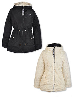 Girls' Reversible Plush Parka by Bebe in black and toffee