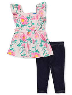 Tropical Floral 2-Piece Jeggings Set Outfit by Bon Bebe in Multi
