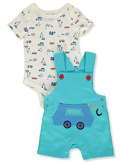 Truck 2-Piece Shortalls Set Outfit by Bon Bebe in Multi - Overalls & Shortalls