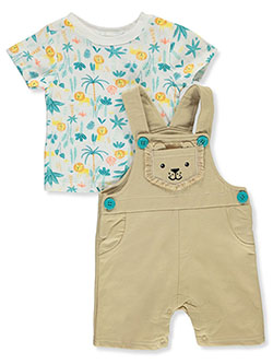 Lion 2-Piece Shortalls Set Outfit by Bon Bebe in Multi