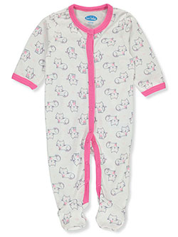 Baby Girls' Cat Print Footed Coverall by Bon Bebe in Multi