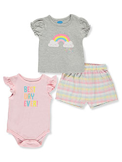 Baby Girls' Rainbow 3-Piece Layette Set by Bon Bebe in Rainbow