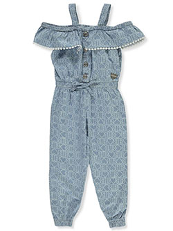 Girls' Allover Print Chambray Jumpsuit by Bebe in Denim