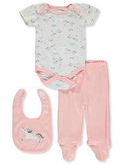 Baby Girls' Unicorn 3-Piece Layette Set by Bon Bebe in Multi
