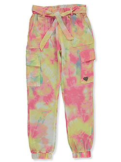 Girls' Woven Tie-Dye Joggers by Bebe in Sugar plum