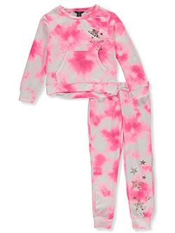 2-Piece Tie-Dye Star Joggers Set Outfit by Bebe in Sugar plum