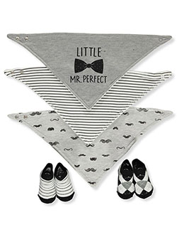 5-Piece Bibs & Booties Set by Baby Elements in Gray/multi - Bibs