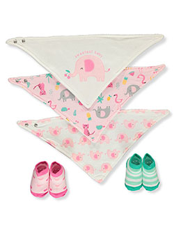 5-Piece Bibs & Booties Set by Baby Elements in Pink/multi - Bibs