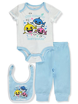 Stay Hungry 3-Piece Layette Set by Baby Shark in Blue/white
