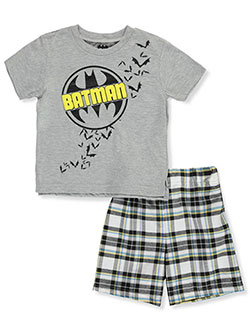 Casual Plaid 2-Piece Shorts Set Outfit by Batman in Multi, Sizes 2T-4T