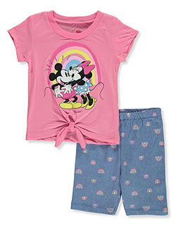 Minnie Mouse Kiss 2-Piece Bike Shorts Set Outfit by Disney in Pink/blue