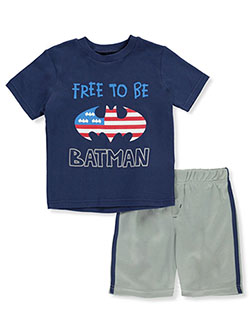 Batman Free to Be Batman 2-Piece Mesh Shorts Set Outfit by DC Comics in Multi