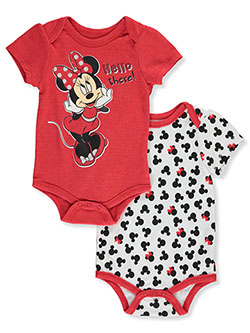 Hello There! 2-Pack Bodysuits by Disney Minnie Mouse in Coral, Infants