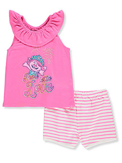 Trolls World Tour Troll Lotta Love 2-Piece Shorts Set Outfit by DreamWorks in Pink, Girls Fashion
