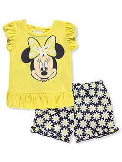 Daisies and Bows 2-Piece Shorts Set Outfit by Disney Minnie Mouse in Multi, Girls Fashion