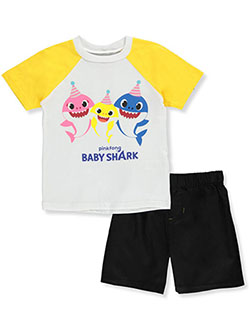 Boys' Raglan 2-Piece Shorts Set Outfit by Baby Shark in Multi