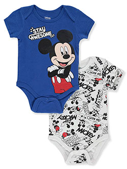 Mickey Mouse Stay Awesome 2-Pack Bodysuits by Disney in Multi