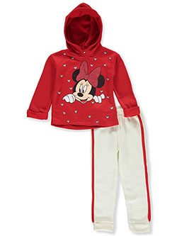 Minnie Mouse Heart Print 2-Piece Sweatsuit Outfit by Disney in Multi
