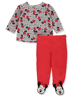 Minnie Mouse 2-Piece Footed Pants Set Outfit by Disney in Multi, Infants