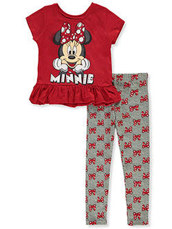 Minnie Mouse Bow Print 2-Piece Leggings Set Outfit by Disney in Red