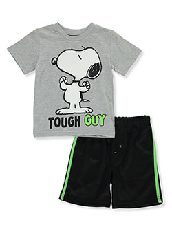 2-Piece Tough Snoopy Shorts Set Outfit by Peanuts in Multi, Sizes 2T-4T