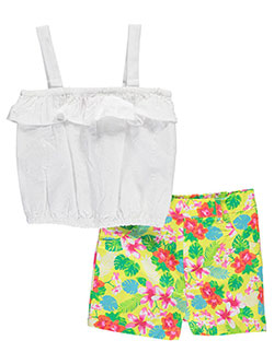 "Penny M Little Girls' ""Floral Twill"" 2-Piece Outfit (Sizes 4 – 6X) - CookiesKids.com"