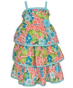 "Famous Brand Little Girls' Toddler ""Floral Wave"" Dress (Sizes 2T – 4T) - CookiesKids.com"