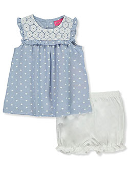 Hearts Sundress With Diaper Cover by Penny M in Blue/multi