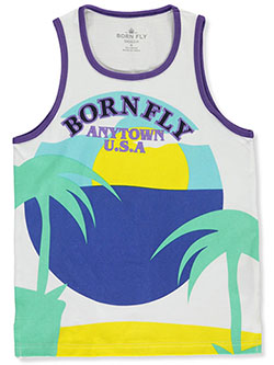 Boys' Anytown USA Tank Top by Born Fly in White, Sizes 8-20