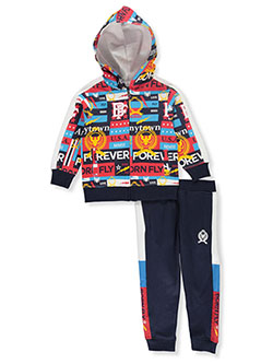Allover Print 2-Piece Tracksuit Outfit by Born Fly in Navy, Sizes 2T-4T