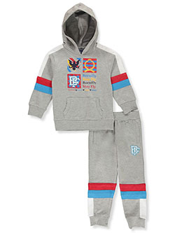 Boys' Grid Logo 2-Piece Sweatsuit Outfit by Born Fly in Heather gray, Sizes 2T-4T