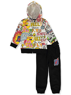 Doodle Collage 2-Piece Sweatsuit Outfit by Born Fly in Multi