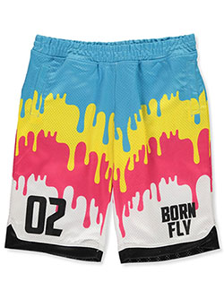 Boys' Color Drip Mesh Performance Shorts by Born Fly in Multi, Sizes 8-20