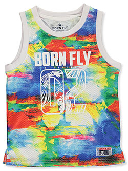 Color Haze Eagle Mesh Performance Tank Top by Born Fly in White/multi, Sizes 8-20