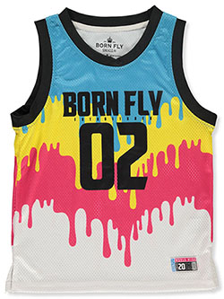 Color Drip Mesh Performance Tank Top by Born Fly in Multi, Sizes 8-20