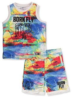 2-Piece Eagle Tie-Dye Shorts Set Outfit by Born Fly in Multi, Sizes 2T-4T