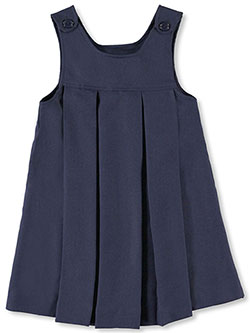 Girls' Button-Shoulder Pleated Jumper in burgundy and navy, School Uniforms