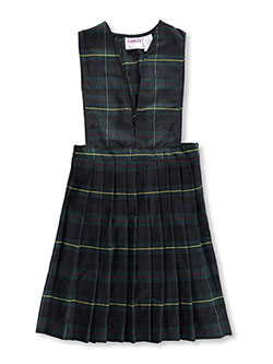 Plus Multi-Pleated V-Neck Jumper in navy and plaid #83, School Uniforms