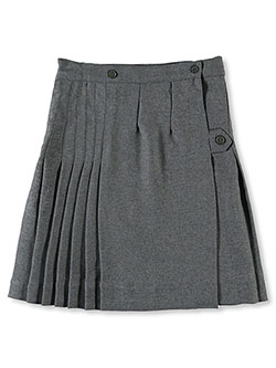 Big Girls' Kilt Skirt with Tabs in gray, khaki and navy - $42.00