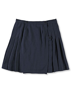 Big Girls' Plus Kilt Skirt with Tabs in gray and navy