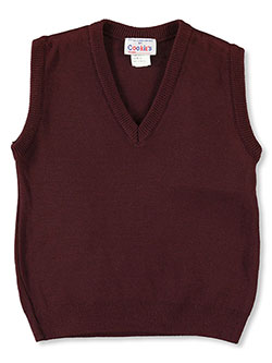 Unisex V-Neck Sweater Vest in burgundy, green, navy and red - $23.00