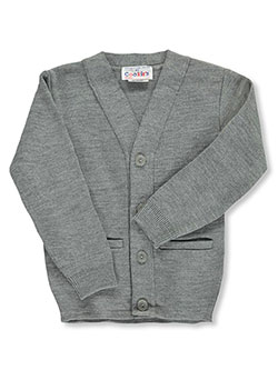 Big Boys' Cardigan Sweater in burgundy, gray, navy and red