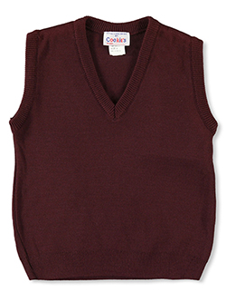 Boys' V-Neck Sweater Vest in burgundy, green, navy and red