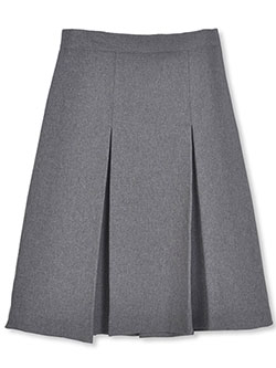 Junior Pleated Side Button Skirt in gray, khaki and navy, School Uniforms