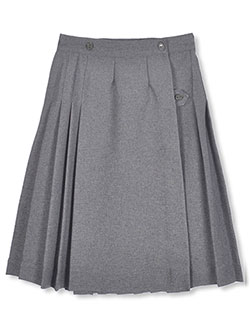 "Big Girls' Junior ""Half Pleat"" Skirt in gray and navy - $29.99"